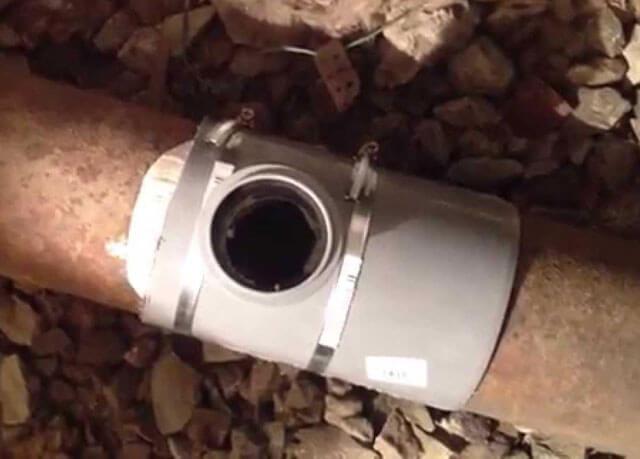 Цементно песчаная заделка в трубе