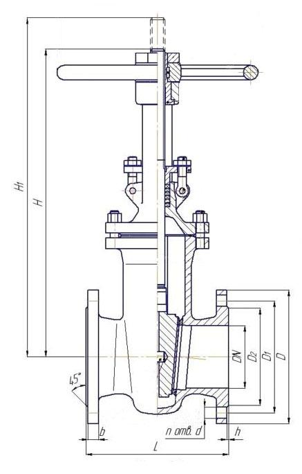 Вес запорной арматуры в зависимости от диаметра