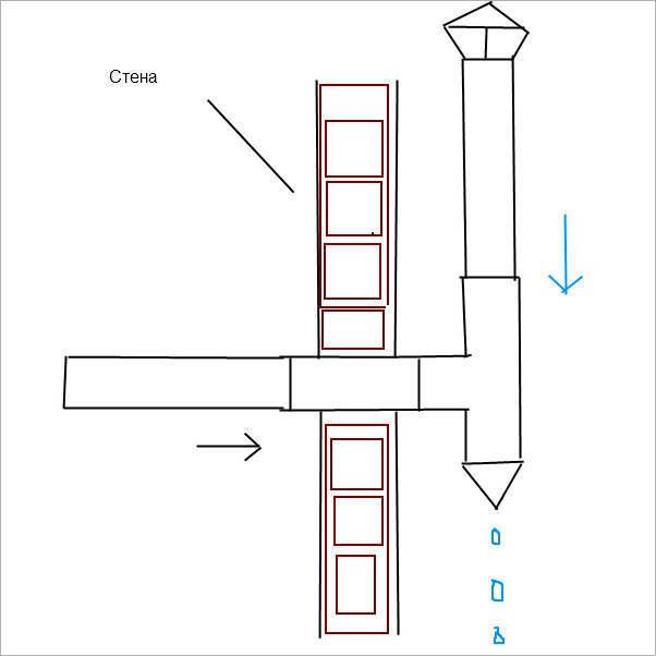 Течет вода из вытяжной трубы