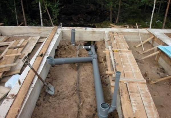 Фундамент плита прокладка труб