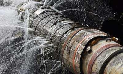Участок трубопровода заполнен водой при атмосферном давлении