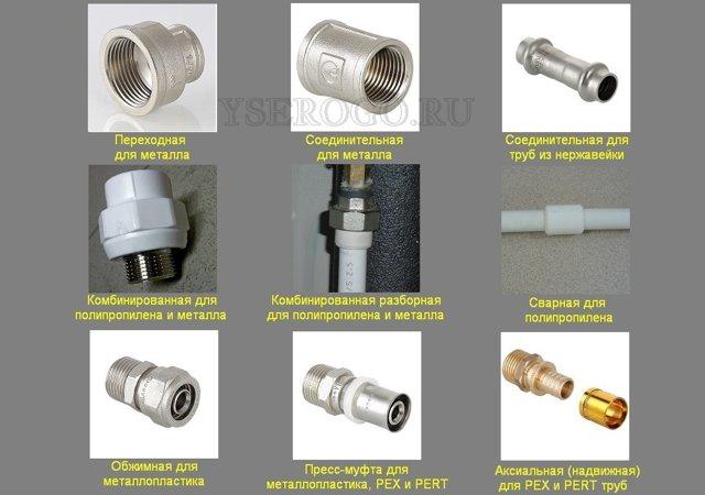 Типы соединения труб в система